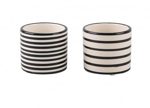 Black and White Stripe Pot