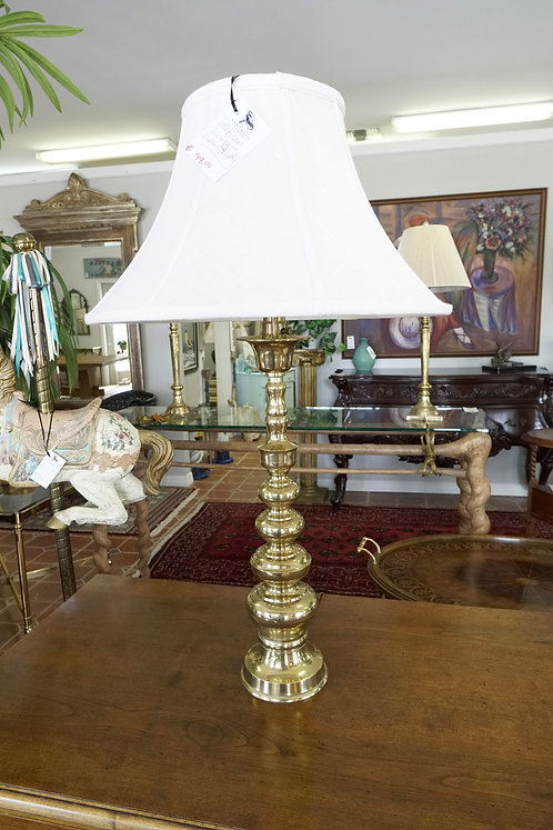 Tall Brass Lamp w/ Cream Shade $49.00