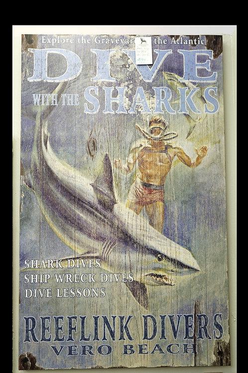 Sharks Dive Shop Vero Beach Sign $199.00