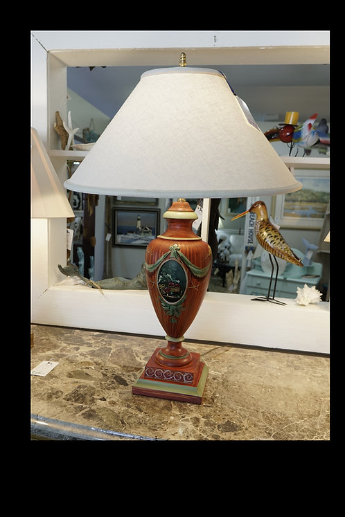 "Gold & Red ""Urn-like"" Table Lamp $99.00"