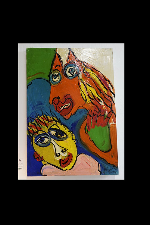 Peter Keil- Orig. Oil Neo Expressionism Abstract Figural Portrait $1499.00