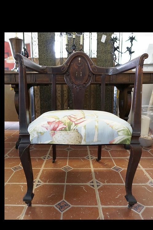 Antique Chair w/ Floral Upholstered Seat $159.00