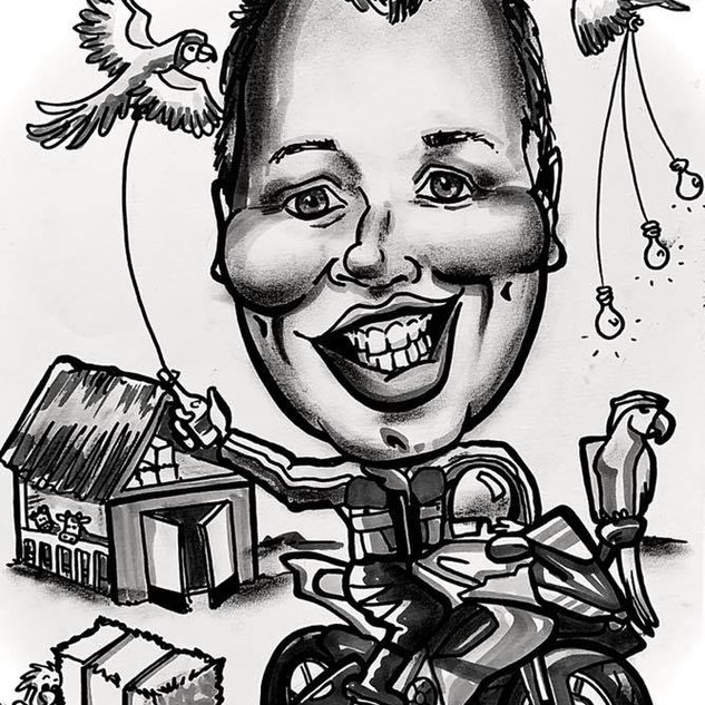 Motorcycle caricature