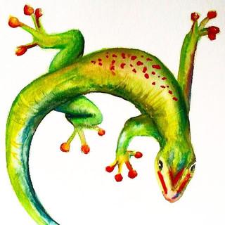 Handmade painted gecko