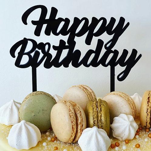 Cake Topper - Large Happy Birthday Topper - Black