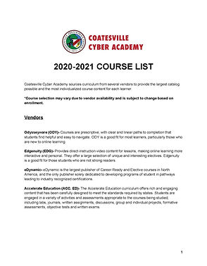 Coatesville Cyber Academy_Course List_Pa