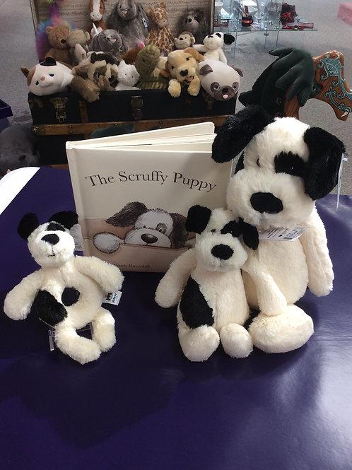 Jellycat Black and Cream Puppy & Book