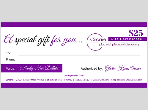 Gift Certificate: Twenty-Five Dollars