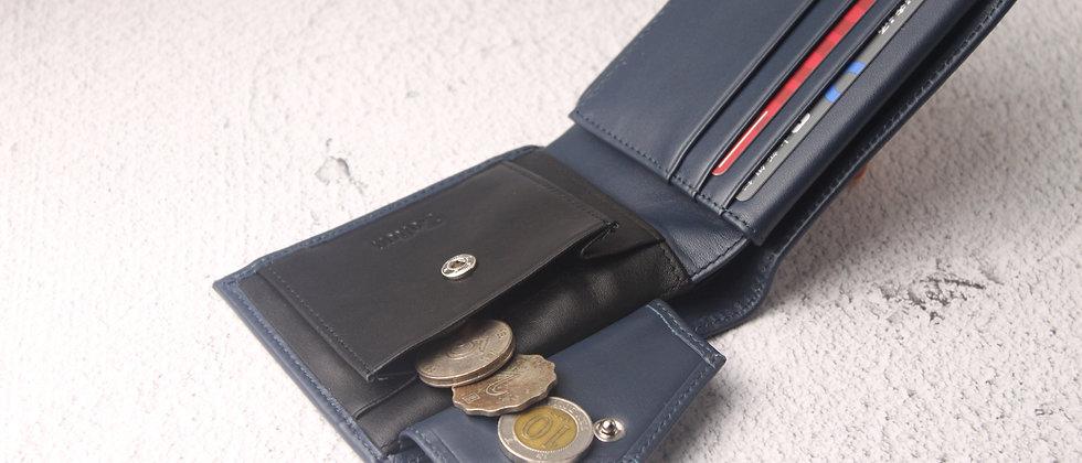 海軍 - Viktor 真皮泛用系列錢包, 內置零錢袋及RFID防盜保護