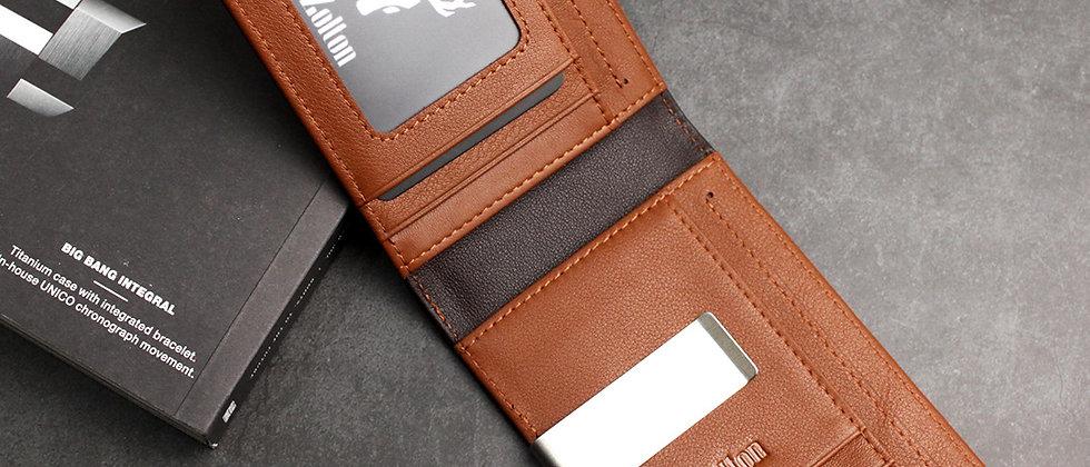 深棕 - Sandor 真皮卡片及現金夾 RFID防盜保護