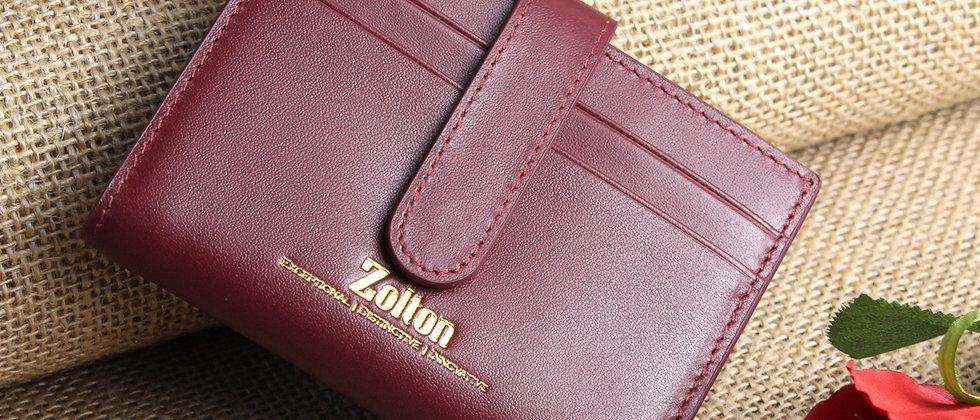 酒紅 - Scarlett真皮泛用卡片夾及皮夾