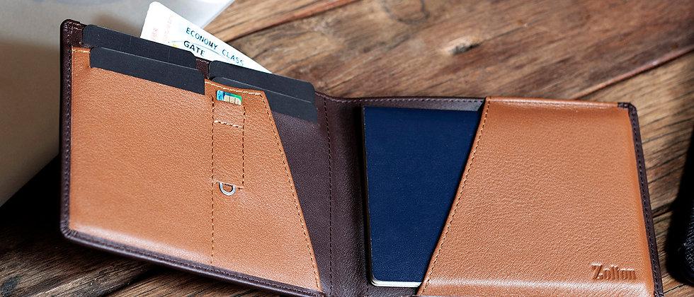 深棕 - Eleutherios 真皮旅行皮夾, 帶防-RFID保護膜