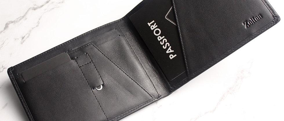 純黑 - Eleutherios 真皮旅行皮夾, 帶防-RFID保護膜