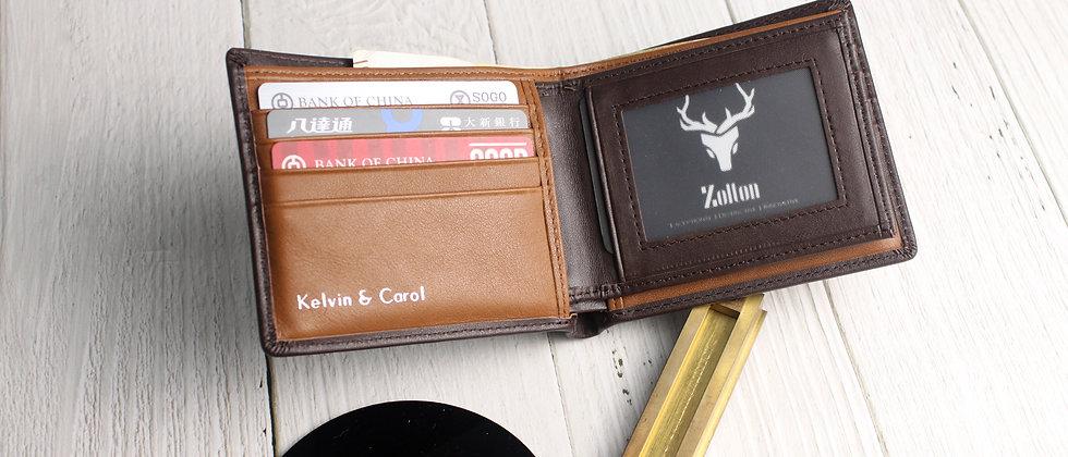 深棕 - Zolton真皮雙折三頁式錢包,帶有可移動的卡片窗口及防RFID保護膜