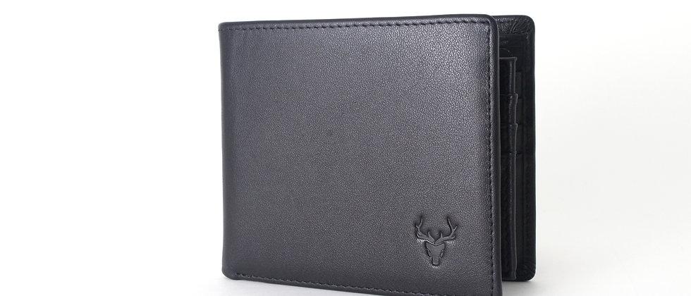 純黑 - Zolton真皮雙折式極簡錢包,帶防RFID保護