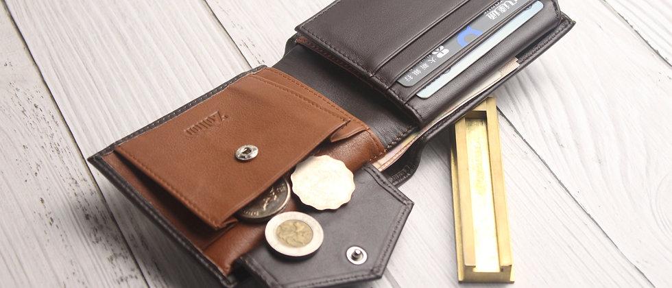深棕 - Viktor 真皮泛用系列錢包, 內置零錢袋及RFID防盜保護