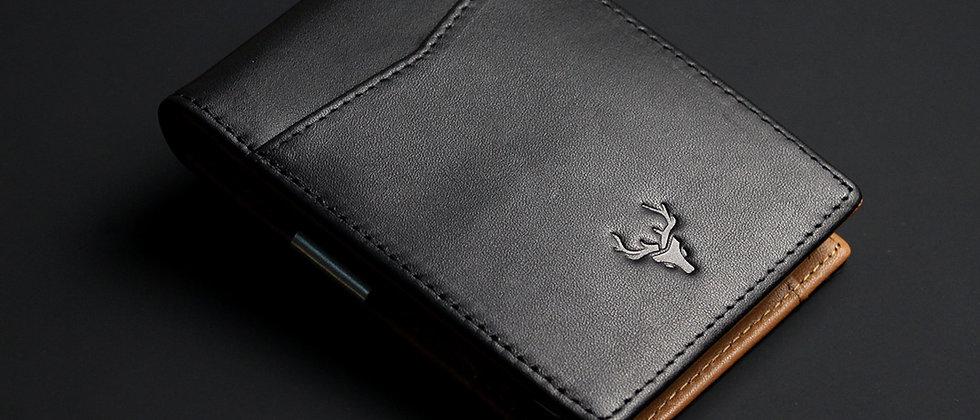 黑棕 - Sandor 真皮卡片及現金夾 RFID防盜保護