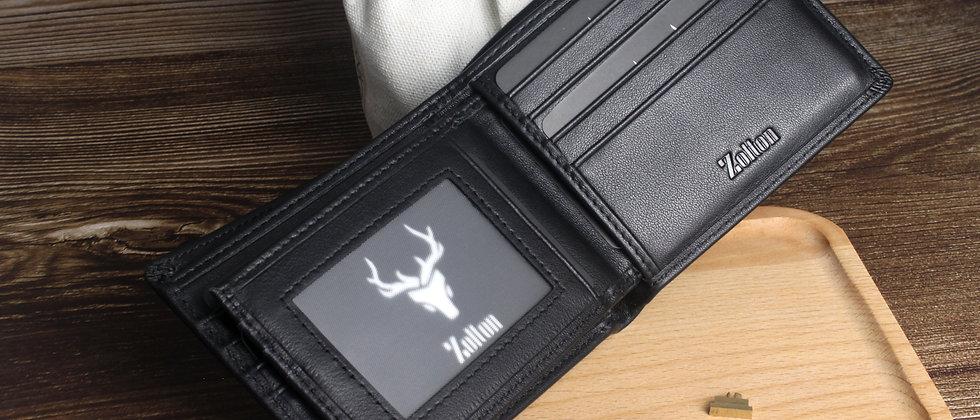 純黑 - Zolton真皮雙折三頁式錢包,帶有可移動的卡片窗口及防RFID保護膜