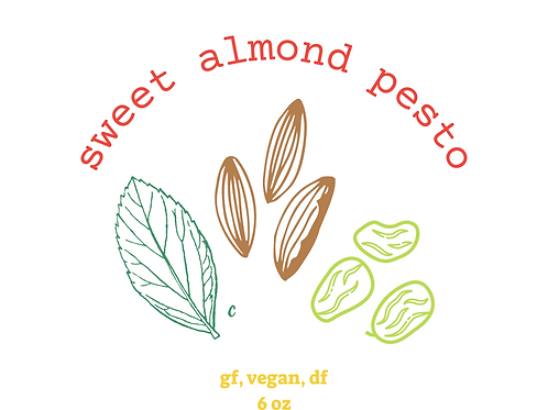 6 oz sweet almond basil pesto (gf, vegan, df)