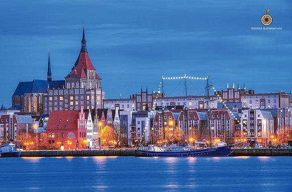 Wandbild NR 5234 - HRO Stadthafen blue hour
