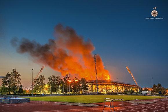 Wandbild NR 5238 - HRO Ostseestadion on fire