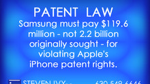 Samsung must pay $119.6 million - not 2.2 billion originally sought - for violating Apple's