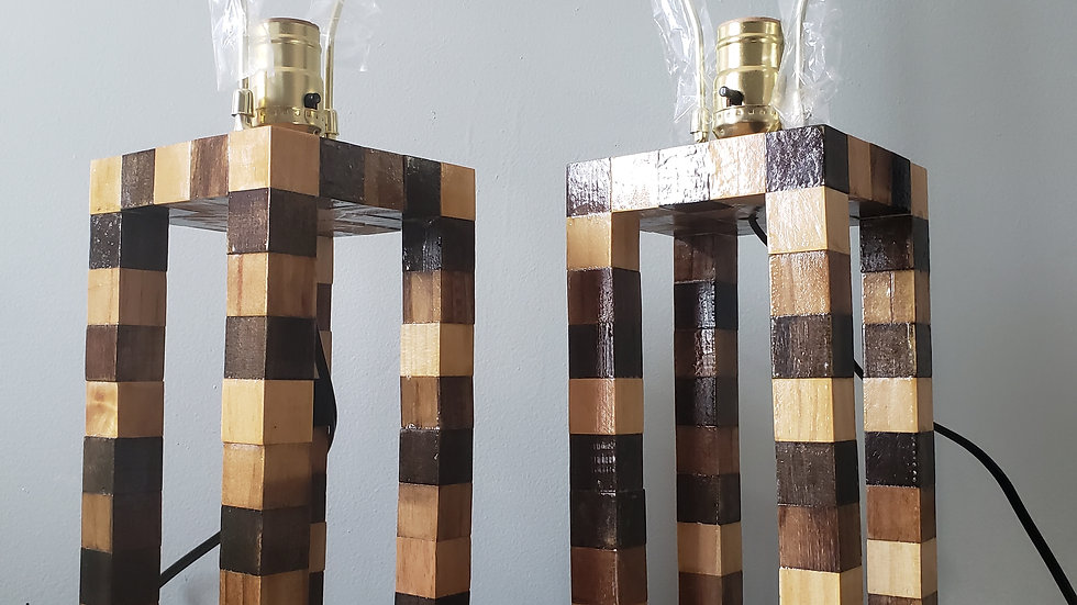 Custom set of handmade wood block lamps