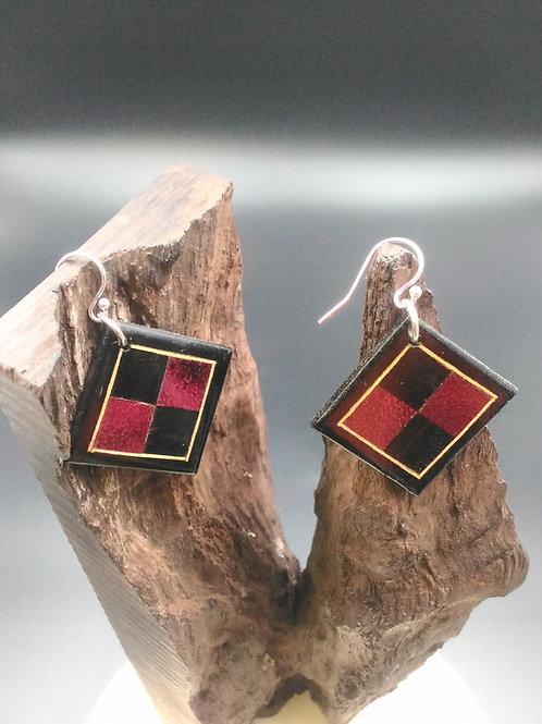 Boucle d'oreille carré bois précieux