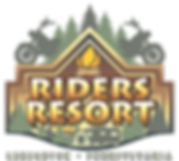Riders Resort Campground logo with motorcycles campers and tents