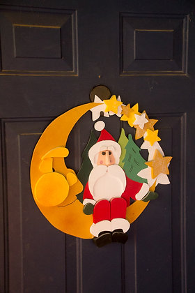 Santa on Christmas Moon Wreath