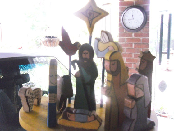 'Carved' Country Rustic Nativity
