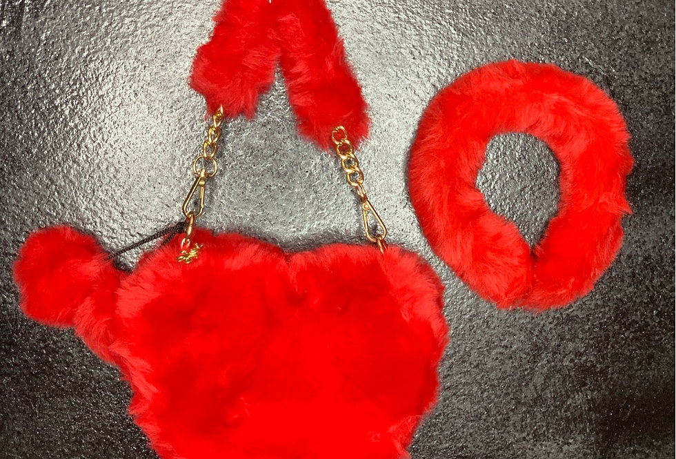 Fur Heart Purse & Headband Set