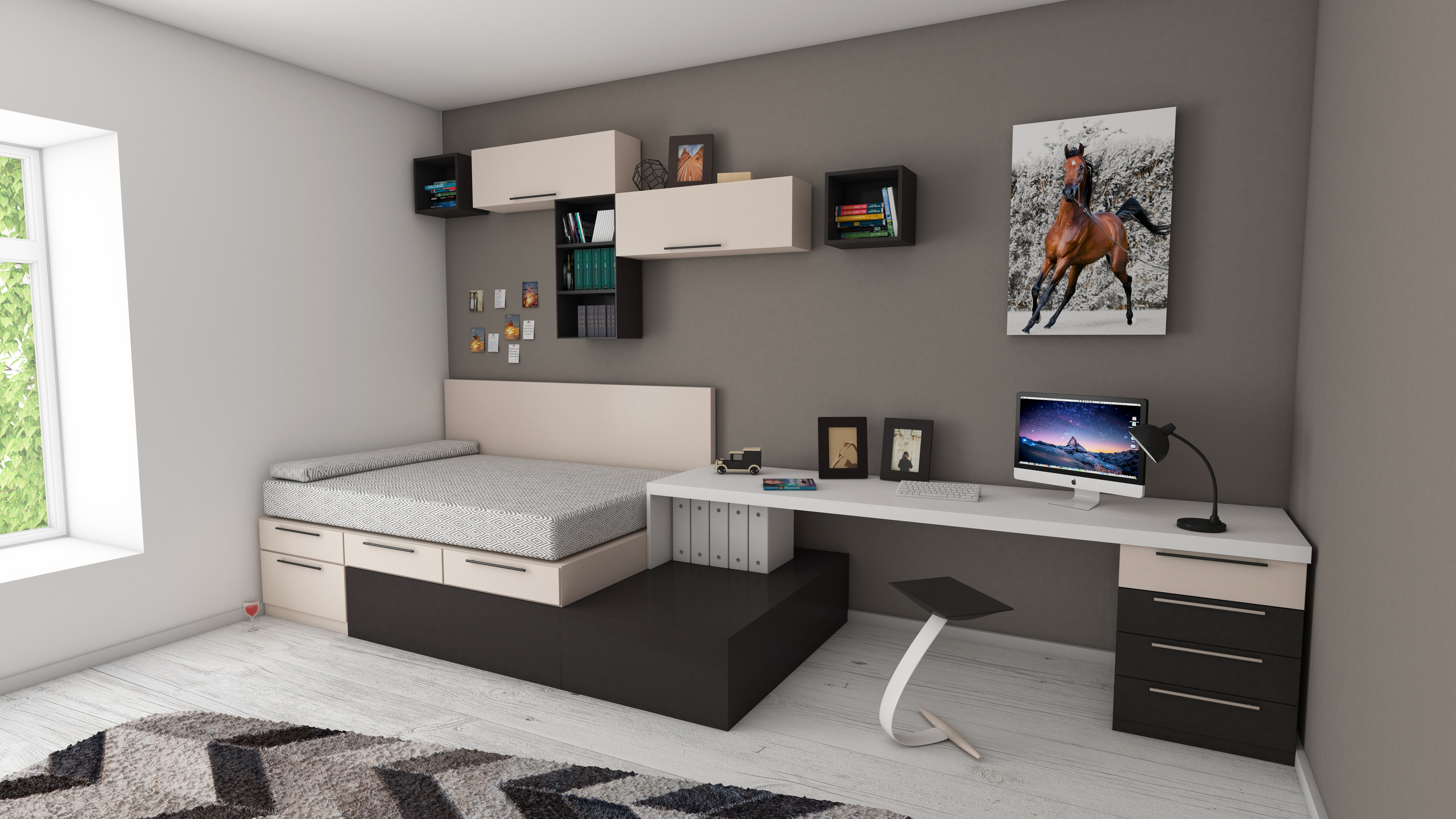 Bed Room with Book Shelves