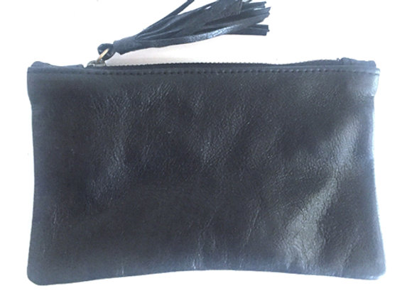 Leather black coin purse