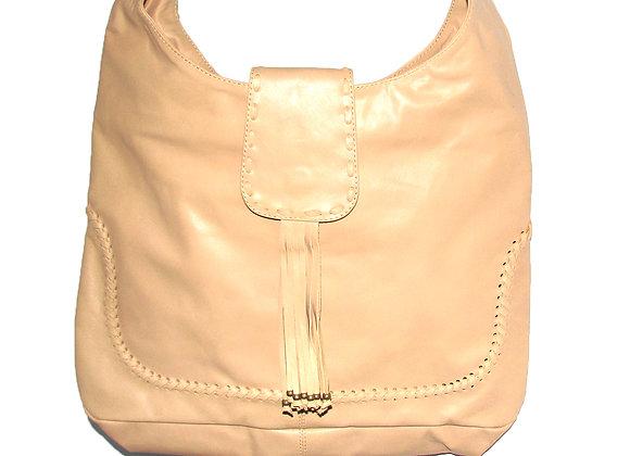 Leather handbag.  Camel shopper tote with Tassel.