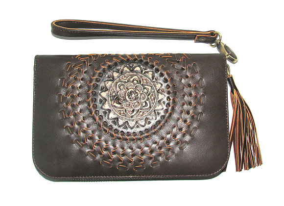 Leather Wallet, Chocolate with Mandella design