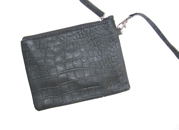 Leather 'Pounch' Clutch with textured surface, Black