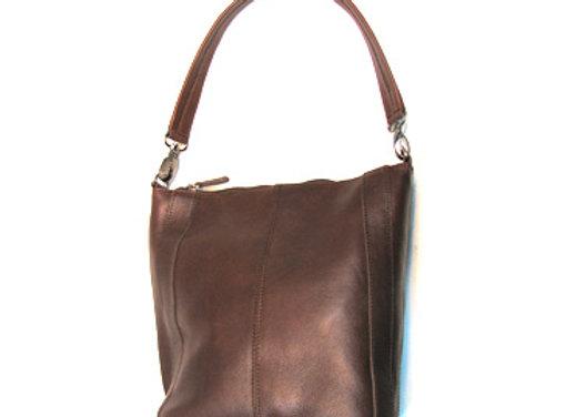 Leather handbag, small chocolate 'Victoria' Shoulder  Satchel.