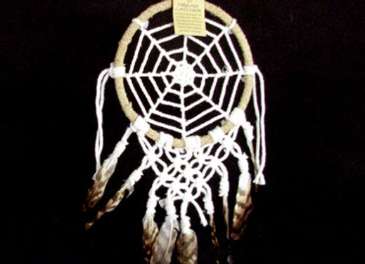 Dream Catcher with macrame and brown feather