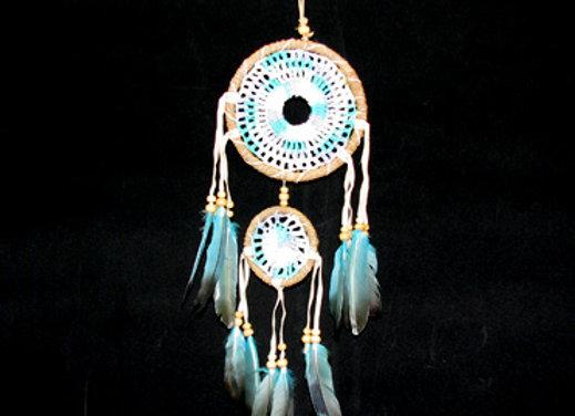 Dreamcatcher turq comb 12cm