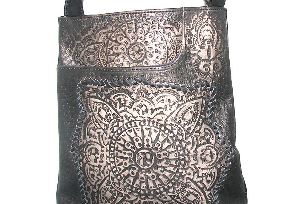 Leather Handbag with etched design Black