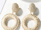 Earrings, Woven Straw Natural