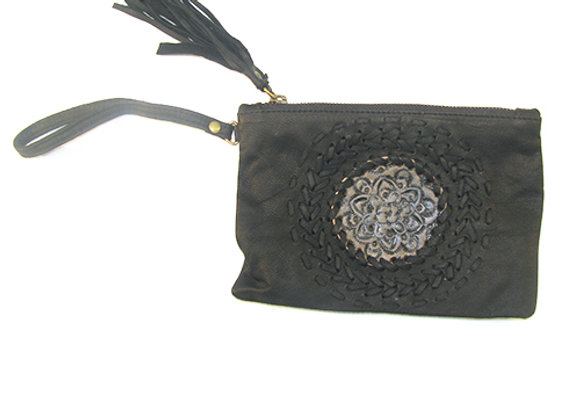 Leather Clutch, with mandella design