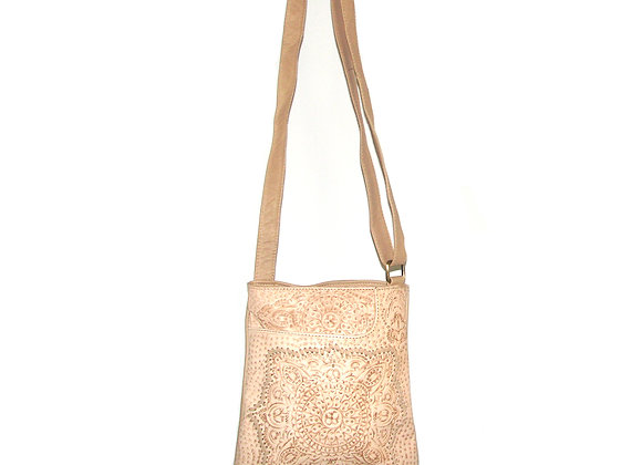 Leather Handbag with etched design creme