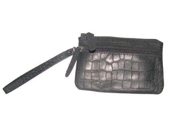 Small Leather Clutch Croc Blk
