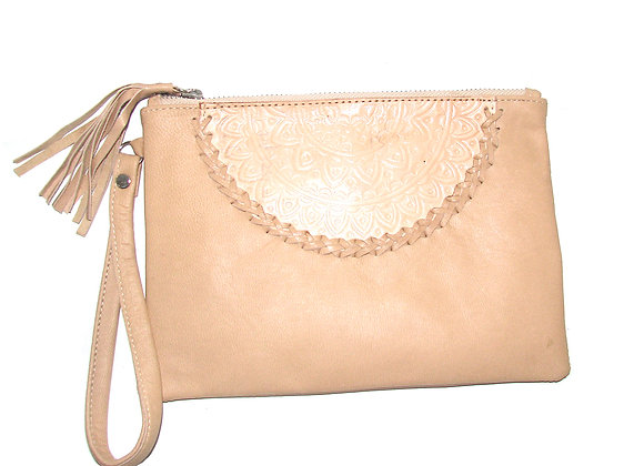 Leather Clutch,  Creme with 1/2 Mandella design.