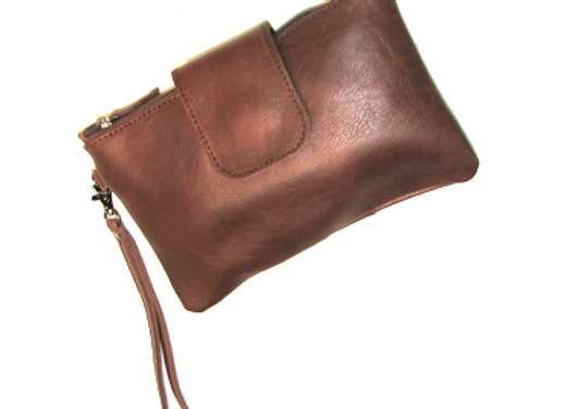 Leather Clutch, chocolate with securing flap.