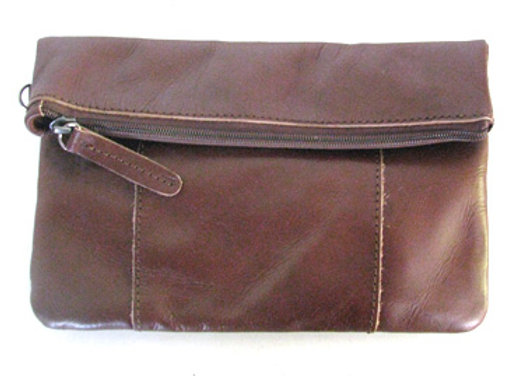Leather Clutch fold and clip, chocolate brown.