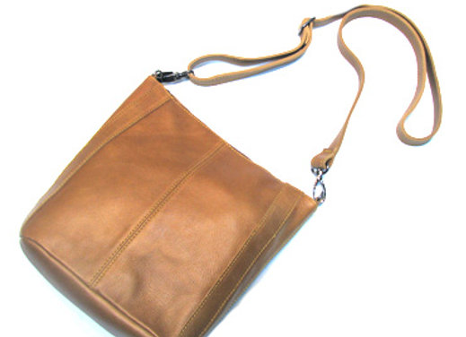 Leather handbag, small Cognac 'Victoria' Shoulder  Satchel.