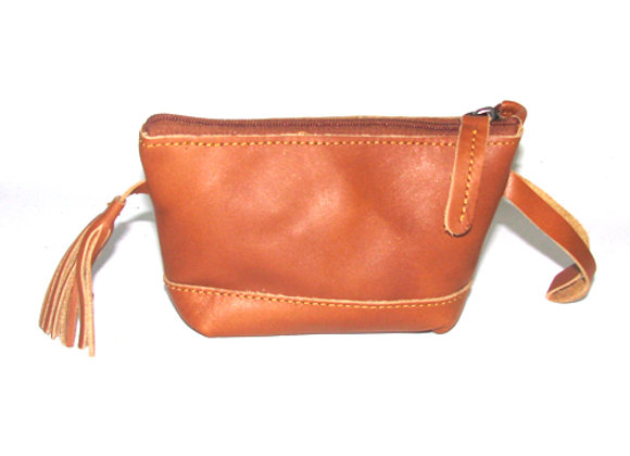 Leather Make Up Pouch, Cognac.
